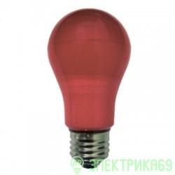 Ecola ЛОН A55 E27 8W 108x55 Красная пласт./алюм. K7CR80ELY