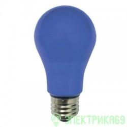 Ecola ЛОН A55 E27 8W 108x55 Синяя пласт./алюм. K7CB80EL