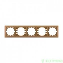 Lezard Мира рамка 5 мест. (б/вст, горизонт.) металлик золото 701-1300-150