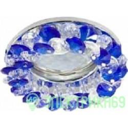 Ecola CD4141 MR16 GU5.3 св-к встр.круглый с хрусталиками Прозрачный и Голубой/Хром 50x90 FL1617EFY
