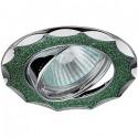 ЭРА DK17 CH/SH GR св-к встр.поворот. 50W MR16 GU5.3 звезда со стеклян.крошкой d85 зеленый блеск/хром