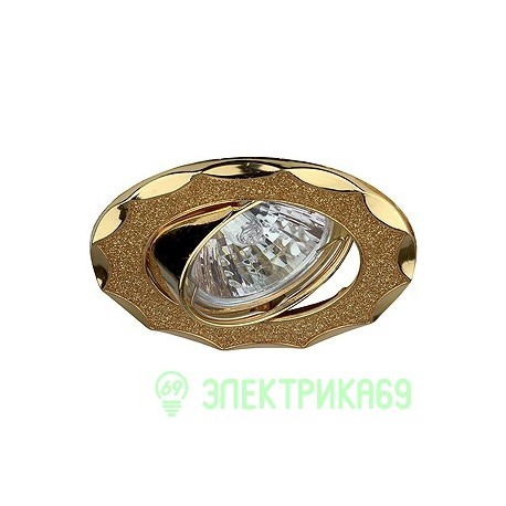 ЭРА DK17 GD/SH YL св-к встр. поворот. 50W MR16 GU5.3 звезда со стеклян.крошкой d85 золот.блеск/золот