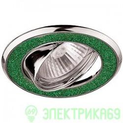 ЭРА DK18 CH/SH GR св-к встр. поворот. 50W MR16 GU5.3 круг со стеклян.крошкой d85 зеленый блеск/хром