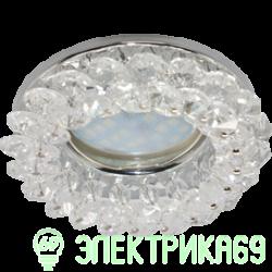 Ecola CD4141 MR16 GU5.3 св-к встр.круглый с хрусталиками Прозрачный/Хром 50x90 FW1617EFY