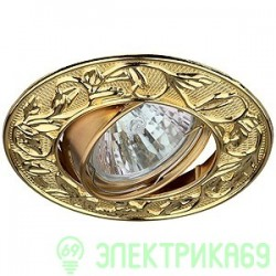 """ЭРА KL11A GD св-к встр. поворот. 50W MR16 GU5.3 """"лианы"""" d100, золото"""
