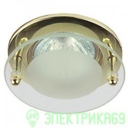 """ЭРА KL15 GD св-к встр. 50W MR16 GU5.3 """"с круглым стеклом"""" d90, золото"""