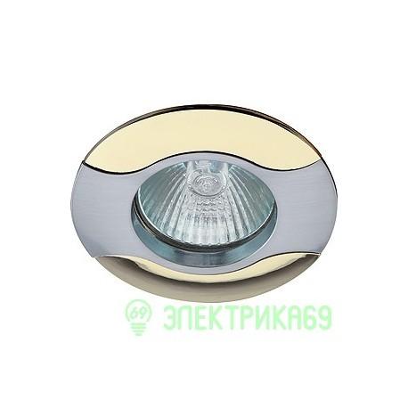 """ЭРА KL18 SN/G св-к встр. 50W MR16 GU5.3 """"волна"""" d80, сатин никель/золото"""