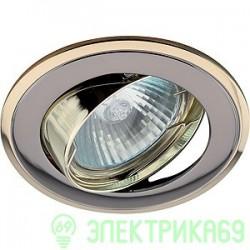 """ЭРА KL22А GU/G св-к встр. поворот. 50W MR16 GU5.3 """"двойной контур"""" d84, черный металл/золото"""