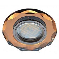 Ecola DL1653 MR16 GU5.3 св-к  Стекло с вогнутыми гранями Янтарь/Черненая медь 25x90 FA1653EFF