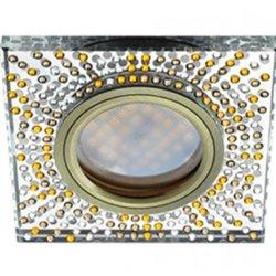 Ecola DL1658 MR16 GU5.3 св-к  Стекло прозр.-янтарной мозаика зерк./черн. бронза 28x95 FQ16SGECB