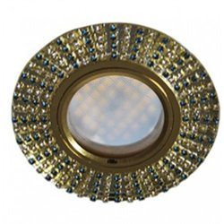 Ecola DL1662 MR16 GU5.3 св-к  Стекло Круг бирюз. страз. золото зеркало/золото 25x93 FM16RGECB