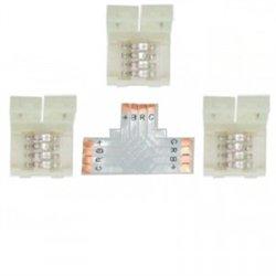 Ecola Комплект соед плата T для зажим разъема + 3 зажима 4-х конт. SMD5050 SC41UTESB