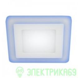 ЭРА св-к встр. св/д даунлайт 6W(360lm) 4000К/синий 4K подсветка 105(75) квадрат белый LED 4-6BL