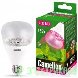 Camelion лампа св/д для растений E27 15W(120°) прозрачная 150x90 LED15-PL/BIO/E27