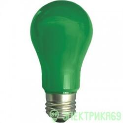 Ecola ЛОН A55 E27 8W 108x55 Зеленая пласт./алюм. K7CG80ELY