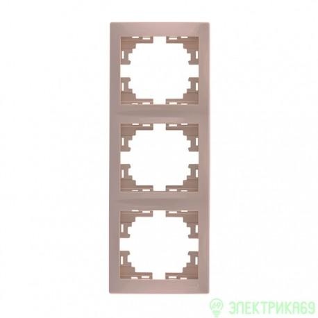 Lezard Мира рамка 3 мест. (б/вст, вертик.) крем. 701-0300-153