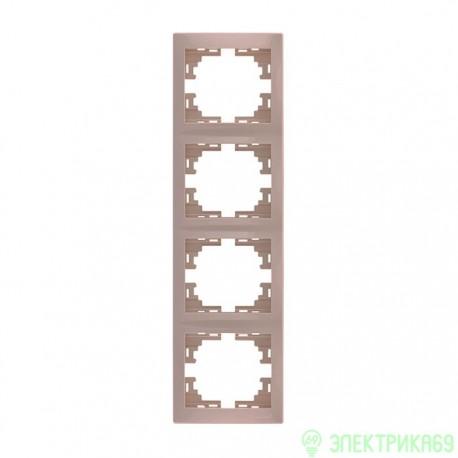 Lezard Мира рамка 4 мест. (б/вст, вертик.) крем. 701-0300-154