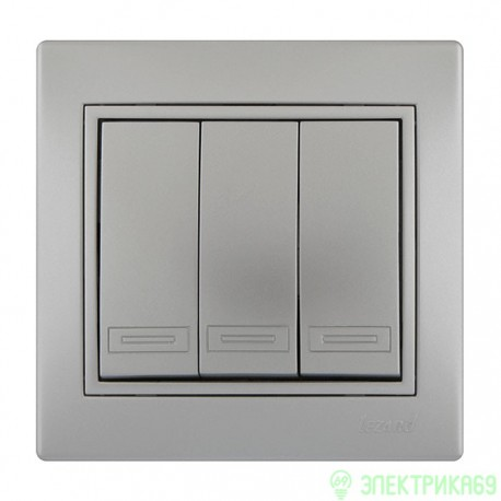 Lezard Мира выкл. СУ 3 кл. металлик серый 701-1010-109