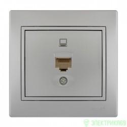 Lezard Мира роз. компьют. СУ 1 мест. металлик серый (RJ45) 701-1010-139