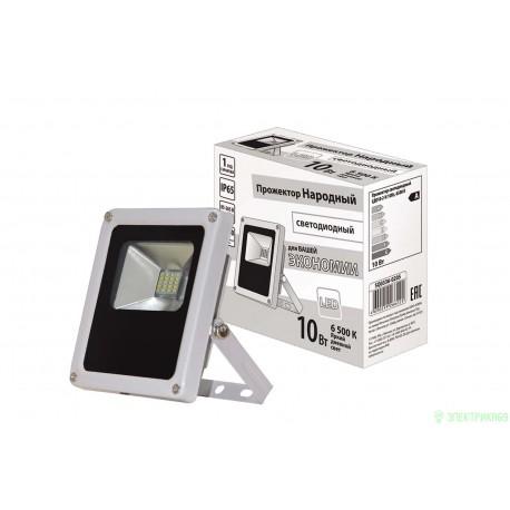TDM прожектор св/д СДО10-2-Н 10W(800lm) 6500K 85-265V Народный IP65 серый (118х127х45)мм SQ0336-0205