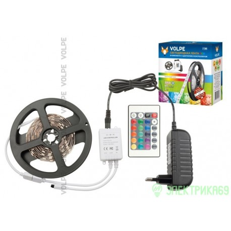 Volpe Комплект б/п+пульт д/у+Лента 12W/m ULS-Q221 5050-60LED/m-IP20-3M-RGB RRP36C24 (интерьерная) 3м