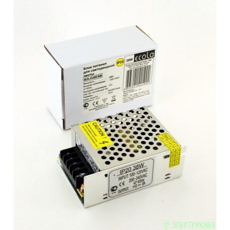 Ecola Блок питания для св/д лент 12V 38W IP20 80х60х33 (интерьерный) B2L038ESB
