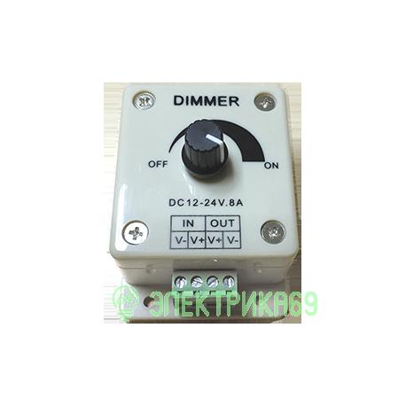 Ecola Диммер 12V 96W 8A с винтовыми клеммами и ручкой для управления CDM08AESB