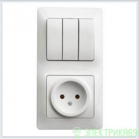 Schneider GLOSSA блок комб. (роз. + 3 кл. выкл.) СУ бел. (пласт. осн.) GSL000176