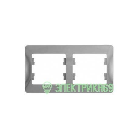 Schneider GLOSSA рамка СУ 2 мест. алюминий (горизонт.) GSL000302