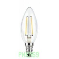 Gauss Fillament Свеча E14 5W(420lm) 2700K 2K 97x35 филамент (нитевидная), прозр. 103801105