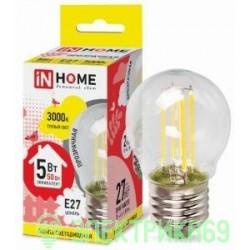 ASD/inHome Шар P45 E27 5W 3000К 2K 74x45 филамент (нитевидная), прозр. 7700