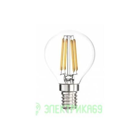 Smartbuy шар P45 E14 5W(360lm) 3000K 2K филамент (нитевидная), прозр. SBL-P45F-5-30K-E14