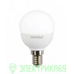 Smartbuy шар P45 E14 5W(400lm) 4000K 4K матовая пластик SBL-P45-05-40K-E14