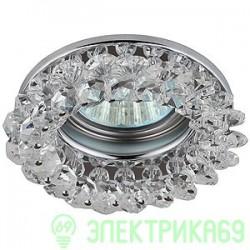 "ЭРА DK16 CH/WH св-к встр. 50W MR16 GU5.3 ""круг с мелкими кристаллами"" 90x25 прозрач./хром"