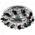 """ЭРА DK16 CH/WH/BK св-к встр. 50W MR16 GU5.3 """"круг с мелкими кристаллами"""" 90x25 прозрач./черный/хром"""