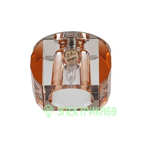 """ЭРА DK21 CH/WH/TEA св-к встр. 40W G9 """"усеченный куб"""" d70мм хром/прозрачный/чай"""