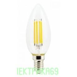 Ecola свеча E14 6W 2700K 2K 360° 96x37 филамент (нитевидная), прозр. N4QW60ELC