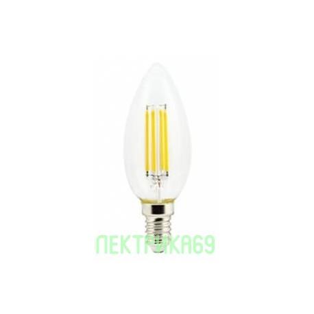 Ecola свеча E14 6W 4000K 4K 360° 96x37 филамент (нитевидная), прозр. N4QV60ELC