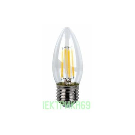 Ecola свеча E27 6W 2700K 2K 360° 96x37 филамент (нитевидная), прозр. N7QW60ELC