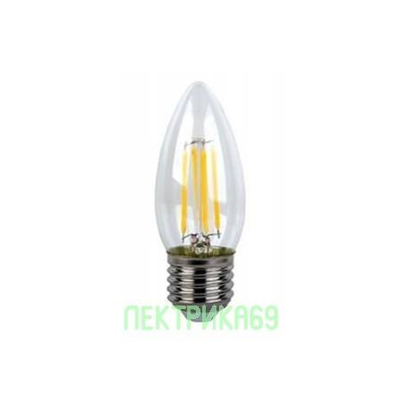 Ecola свеча E27 6W 4000K 4K 360° 96x37 филамент (нитевидная), прозр. N7QV60ELC