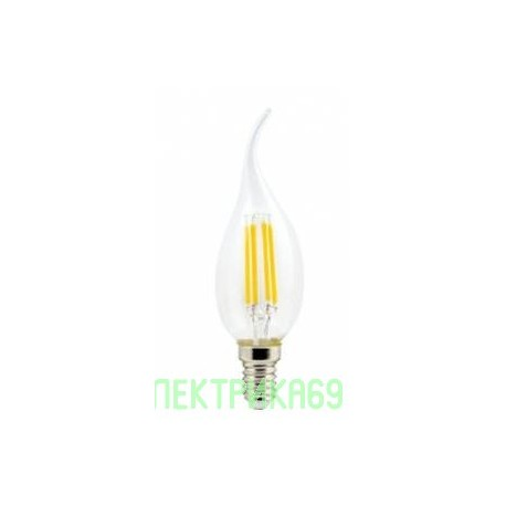 Ecola свеча на ветру E14 6W 2700K 2K 360° 125x37 филамент (нитевидная), прозр. Premium N4UW60ELC