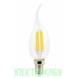 Ecola свеча на ветру E14 6W 4000K 4K 360° 125x37 филамент (нитевидная), прозр. Premium N4UV60ELC