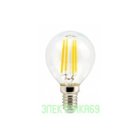 Ecola шар G45 E14 6W 2700K 2K 360° 78x45 филамент (нитевидная), прозр. Premium N4PW60ELC