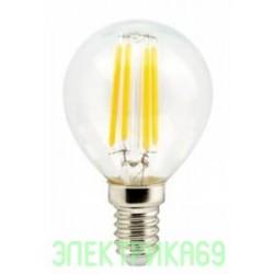 Ecola шар G45 E14 6W 4000K 4K 360° 78x45 филамент (нитевидная), прозр. Premium N4PV60ELC