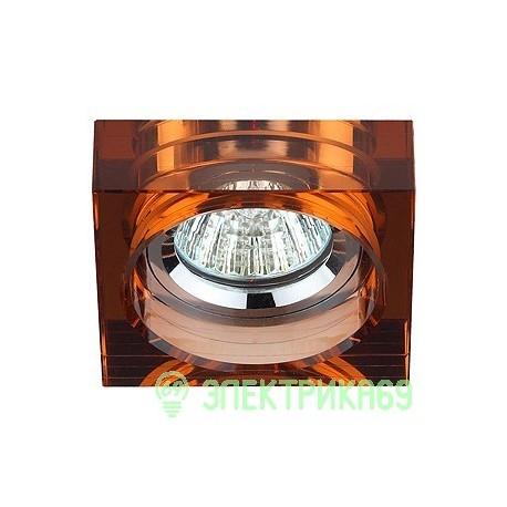"""ЭРА DK37 CH/BR св-к встр. 50W MR16 GU5.3  квадрат малый """"толст.стекло"""" хром/коричневый"""