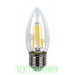 Ecola свеча E27 5W 2700K 2K 360° 96x37 филамент (нитевидная), прозр. Premium N7QW50ELC