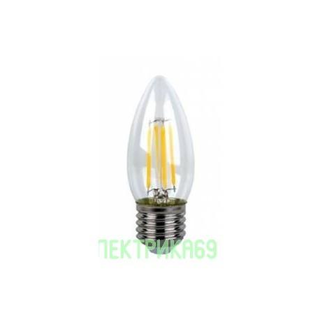 Ecola свеча E27 5W 4000K 4K 360° 96x37 филамент (нитевидная), прозр. Premium N7QV50ELC