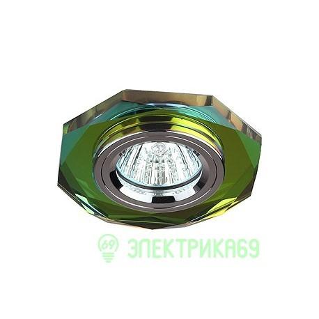 ЭРА DK5 CH/MIX св-к встр. 50W MR16 GU5.3 стекло многогранник d100 зерк мультиколор/хром