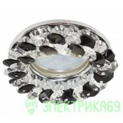 Ecola CD4141 MR16 GU5.3 св-к встр.круглый с хрусталиками Прозрачный и Черный/Хром 50x90 FG1617EFY