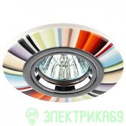 ЭРА DK62 CH/MULTI св-к встр. 50W MR16 GU5.3 керамика спектр 100x65 мультиколор/хром